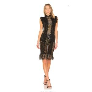 Sheer Lace Black Gold Ruffle Dress